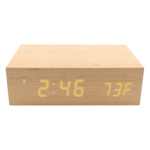 BlueSequoia Alarm Clock With Qi Charging Station And Wireless Speaker